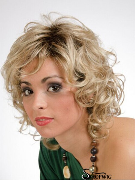 Wigs Monofilament Blonde Color Shoulder Length Curly Style Layered Cut
