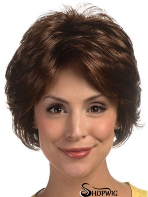Great Brown Short Wavy Layered Lace Front Wigs