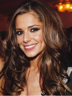 """Suitable Brown 22"""" Curly Long Without Bangs Cheryl Cole Wigs"""