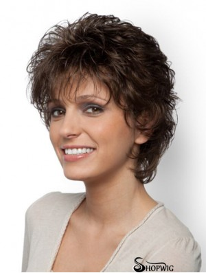 Short Curly Classic Brown Exquisite 100% Hand-tied Wigs