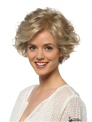 Curly Layered Short Blonde Hairstyles Lace Front Wigs