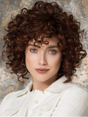 Curly Layered Chin Length Auburn Amazing Lace Front Wigs