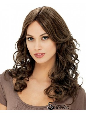 """Flexibility Brown Long Curly With Bangs 18"""" Human Hair Wigs"""