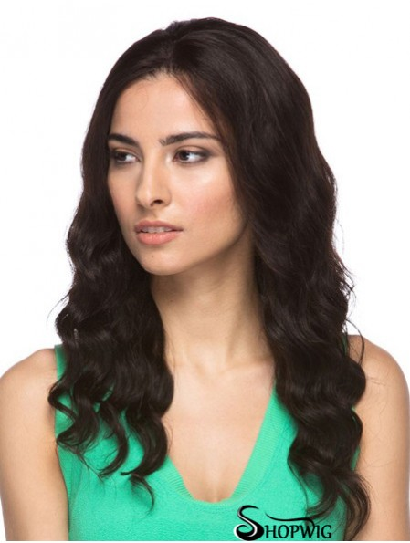 """Brown 16"""" Good Long Wavy Without Bangs Lace Wigs"""