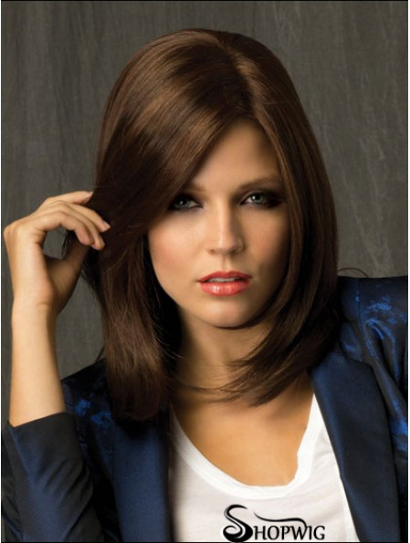 Straight With Bangs Shoulder Length Brown Amazing Lace Front Wigs