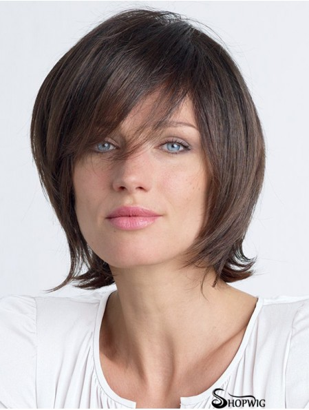 Straight With Bangs Shoulder Length Brown Fashion Lace Front Wigs