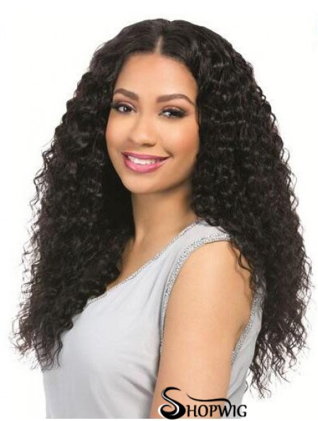 """Curly Black 18"""" Without Bangs Remy Human Hair 360 Lace Wigs"""