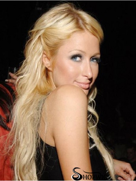 100% Hand-tied Long Straight Without Bangs Blonde Convenient Paris Hilton Wigs
