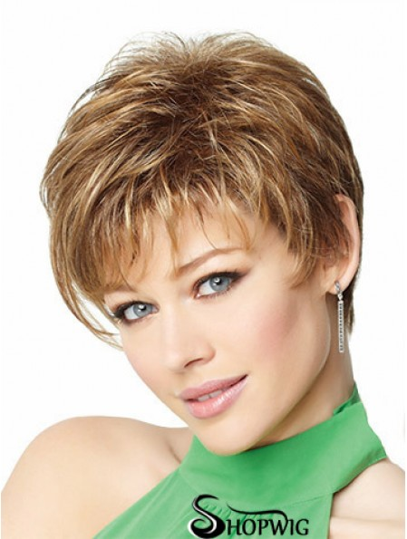"8"" Cheap Blonde Boycuts Monofilament Wigs"