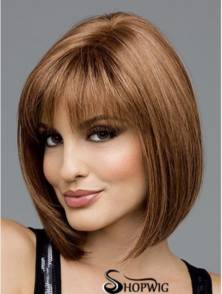 Brown Chin Length Straight Bobs 100% Hand-tied Wig Sale