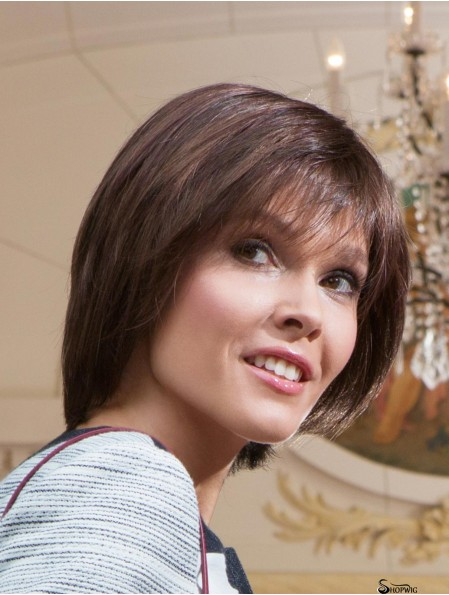 Short Straight With Bangs Brown Online 100% Hand-tied Wigs