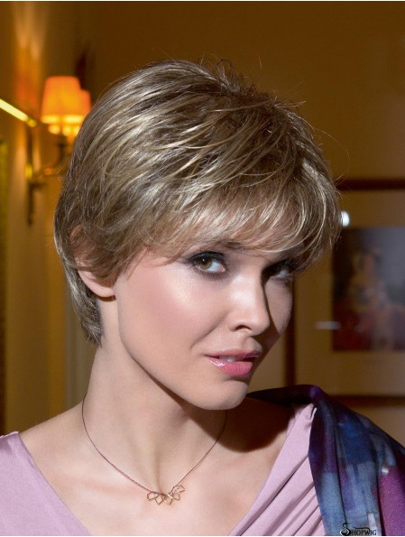 Short Straight Layered Blonde Hairstyles 100% Hand-tied Wigs