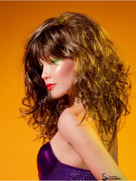 """With Bangs Long Curly Brown 14"""" Popular Monofilament Wigs"""