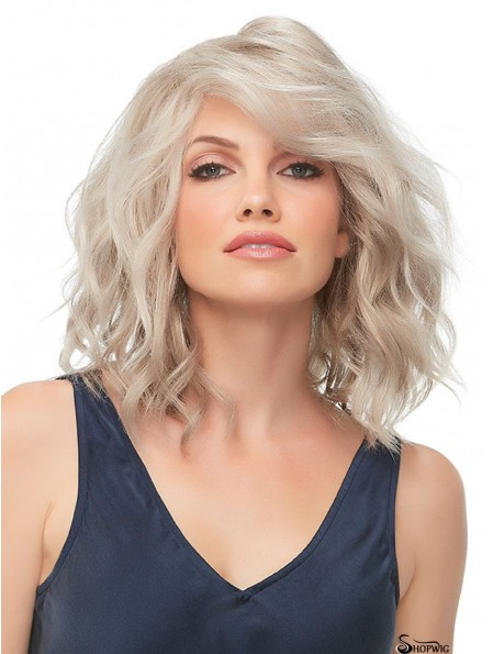 10 inch Chin Length 100% Hand-tied Blonde Bob With Fringe