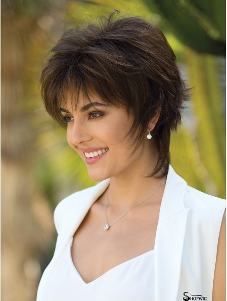6 inch Short Capless Brown Bobs Wigs