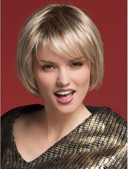 8 inch Chin Length Monofilament Blonde Cheap Bob Wigs