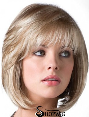 Blonde Bob Wig With Fringe Chin Length Straight Style