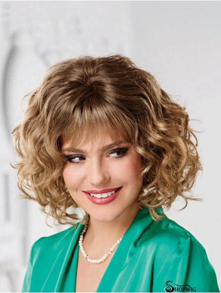 Cheap Blonde Wigs With Bangs Wavy Style Chin Length