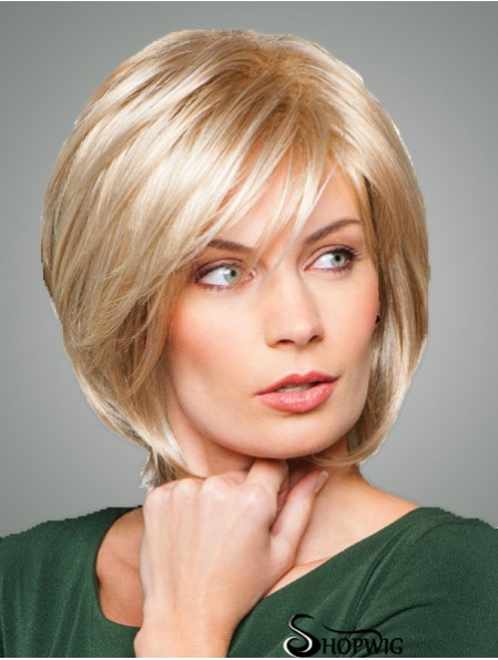 Bobs With Fringes Chin Length Straight Style Blonde Color With Synthetic