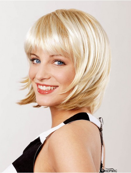 Straight Chin Length Blonde 10 inch Lace Front Top Bob Wigs