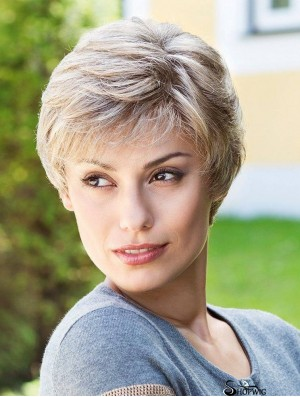 "Sassy Short Straight 6"" Synthetic Grey Wigs"