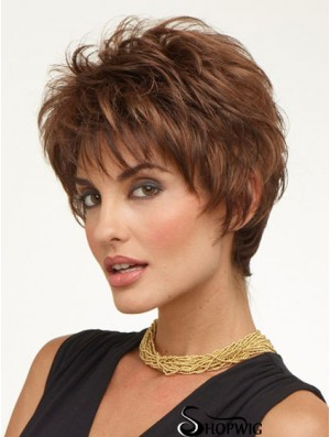 Cheap Ladies Wigs UK Auburn Color Cropped Length Capless Boycuts