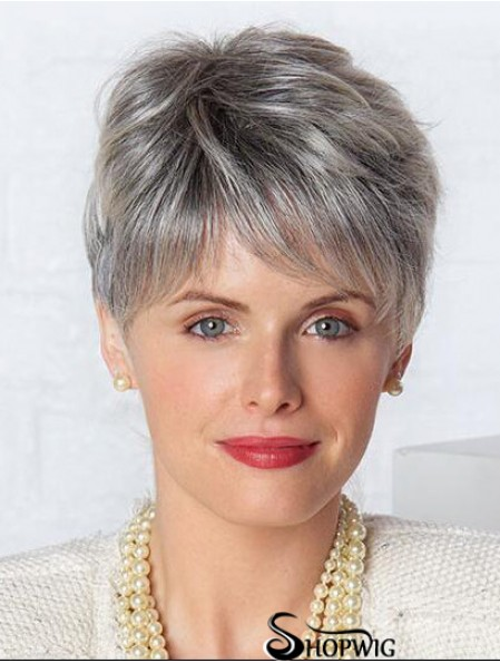 Monofilament Lace Wigs Grey Cut Straight Style Short Length