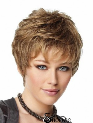 Wonder Wigs With Capless Wavy Style Cropped Length Boycuts