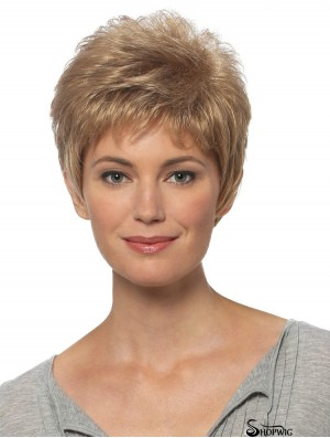 Short Hair Wigs Blonde Color Cropped Length Straight Style