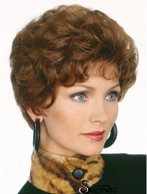 Short Brown Classics Hair Wigs Layered Cut Short Length Wavy Style