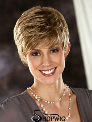 Wavy Boycuts Cropped Fashionable Blonde Synthetic Wigs