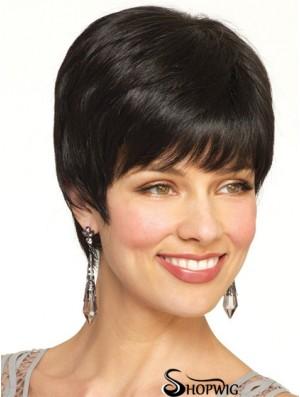 Boycuts Straight Black Capless Popular Short Wigs