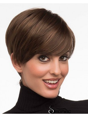 6 inch Fashion Straight Layered Brown Short Wigs