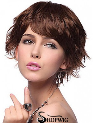 Layered Wavy Auburn Capless New Short Wigs