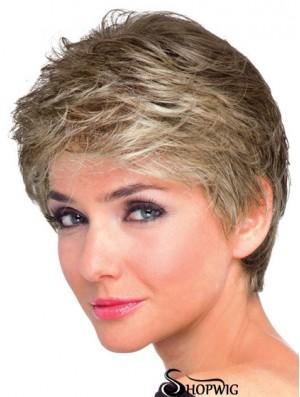 Boycuts Wavy Brown Capless Natural Short Wigs