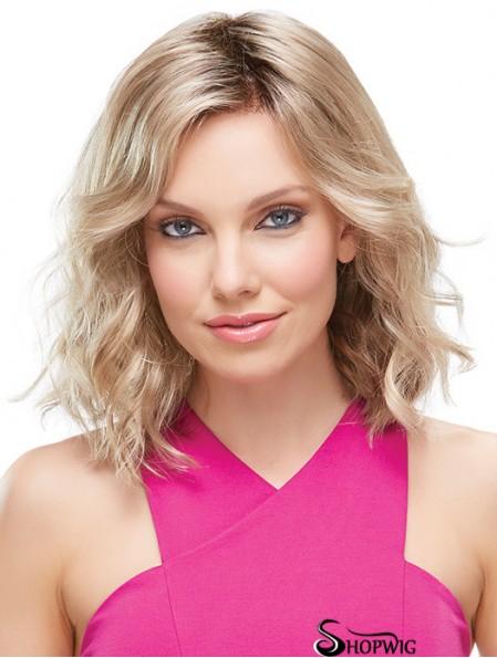 Front Lace Wigs UK Shoulder Length Blonde Color Layered Cut
