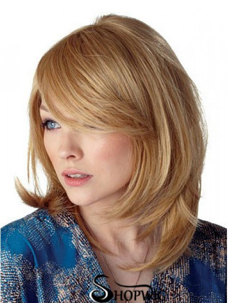 Cheapest Straight Blonde Shoulder Length With Bangs Medium Wigs
