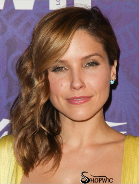 """Cheapest Brown Shoulder Length Wavy 14"""" With Bangs Sophia Bush Wigs"""