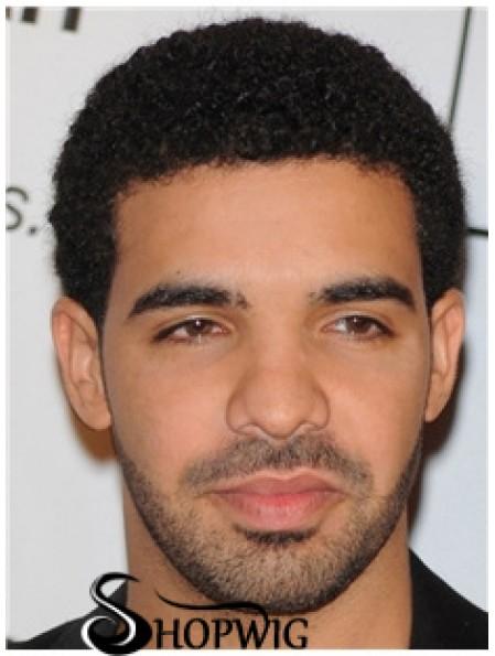 "100% Hand Tied 4"" Curly Short Black Mens Wig"