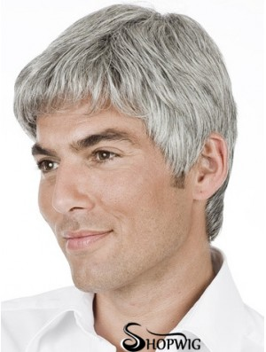 Grey Straight Short Remy Human 100% Hand Tied Mens Wig Shop