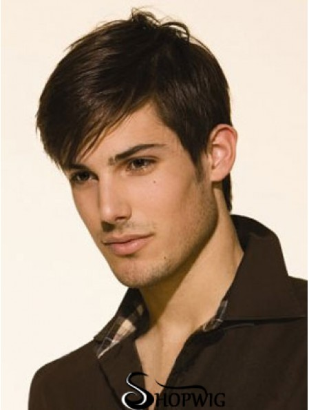Lace Front Cropped Brown Straight Mens Permanent Wigs