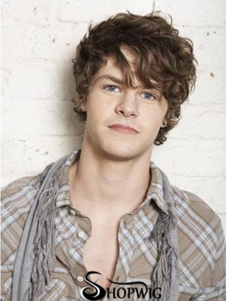 Synthetic Capless Brown Short Wavy Man's Natural Wigs