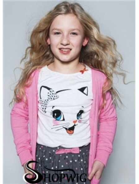 Kids Wigs For Sale Blonde Color 100% Hand Tied Wavy Style