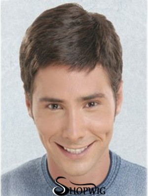 Brown Short Straight Synthetic Lace Front Best Mens Wigs