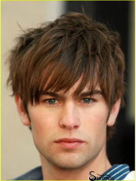 Monofilam Brown Remy Human Short Straight Mens Wigs For Sale