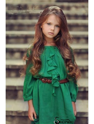 Wavy Long Auburn Remy Human Hair Monofilament Kids Wigs