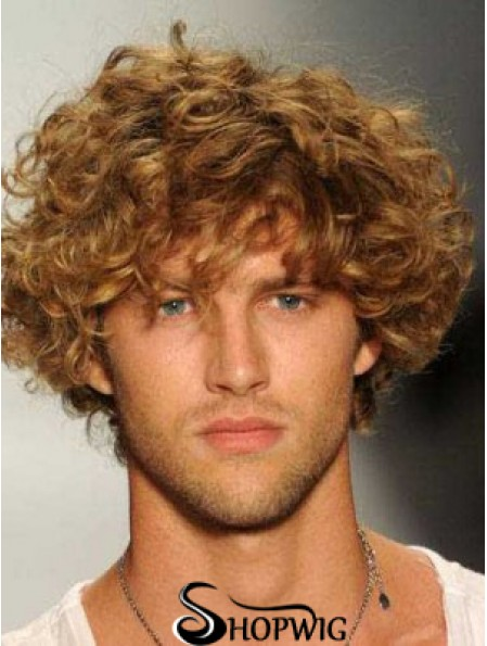 "Blonde 8"" Remy Human Curly Layered Lace Front Mens Wigs"