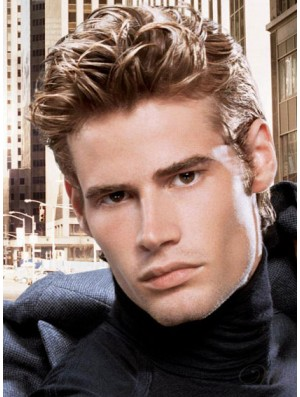 """4"""" Cropped Lace Front Straight Brown Man Wig For Hair Loss"""