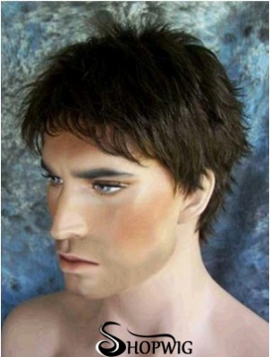 "4"" Synthetic Short Capless Black Straight Men's Wigs UK"
