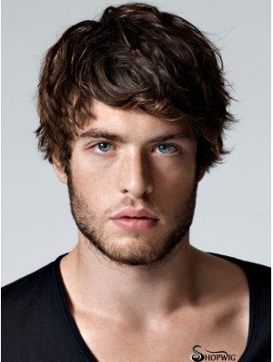 Brown 100% Hand Tied Straight With Bangs Men's Short Wigs